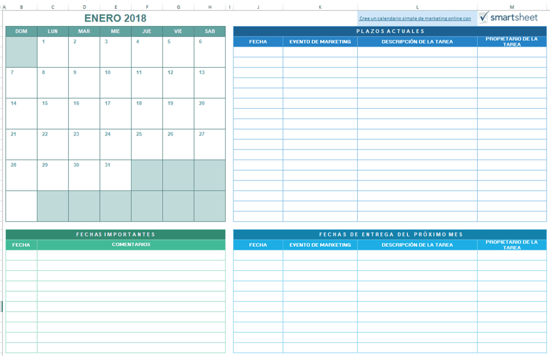 9 plantillas de calendario de marketing para Excel gratis - Smartsheet