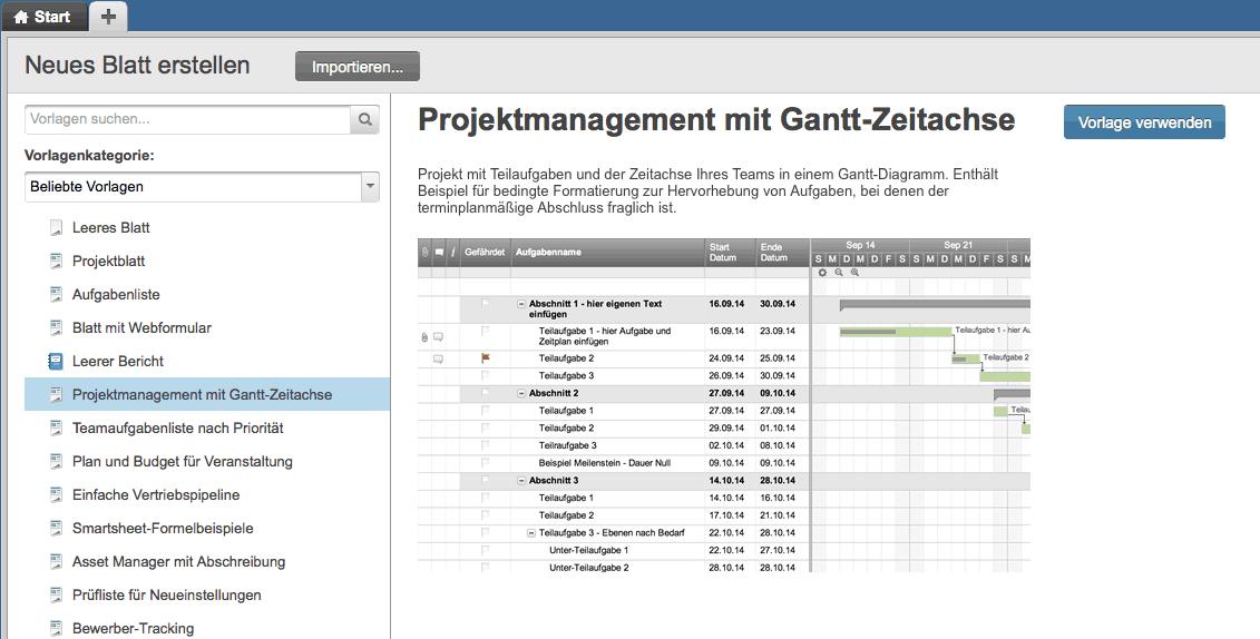 Kostenlose Vorlage für Gantt-Diagramme in Excel