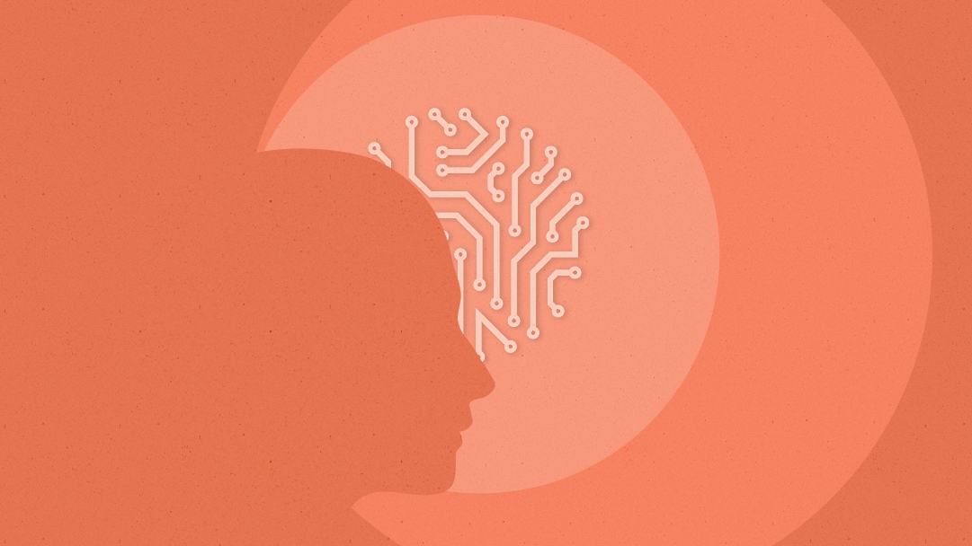 A silhouette of a person's head appears in the forefront, with a circuit board image appearing in the background inside the smallest of three peach-hued rings