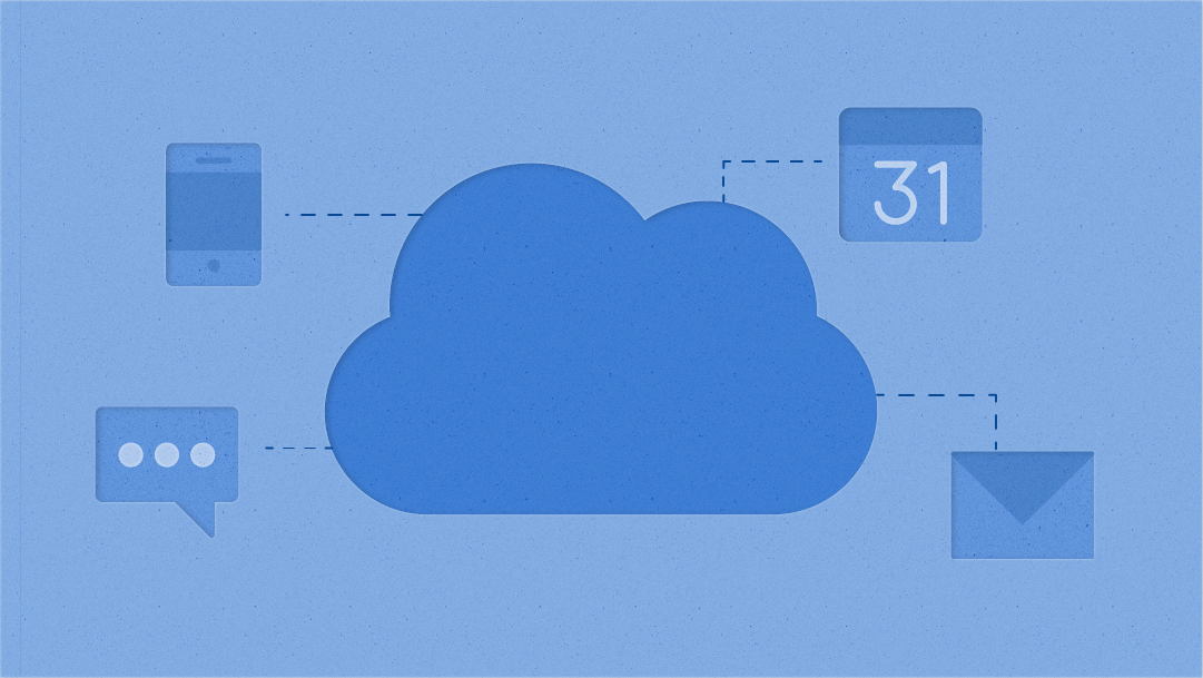 Illustrative icons of a cloud, communication, calendar, smartphone, and email
