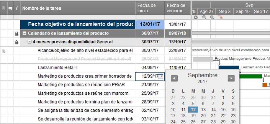 software en línea del diagrama de gantt smartsheet